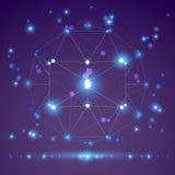3D veelhoekig geometrisch netwerkvoorwerp, vector abstract ontwerp eleme Royalty-vrije Stock Afbeeldingen