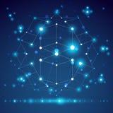 3D veelhoekig geometrisch netwerkvoorwerp, vector abstract ontwerp eleme Stock Foto's