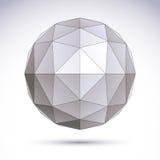 3D veelhoekig geometrisch voorwerp, vector abstract ontwerpelement, c Stock Afbeelding