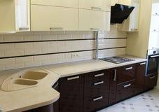 2D Vektorillustration Brown-Küchenschränke Stockfotografie