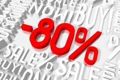 3D venda -80% Fotografia de Stock Royalty Free