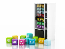 3d vending machine with application Icons. Stock Photos