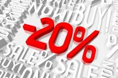 3D vendita -20% Fotografie Stock Libere da Diritti