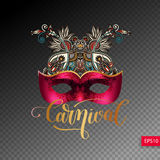 3d Venetiaans Carnaval-maskersilhouet met sier bloemenprestatie royalty-vrije illustratie