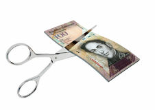 3D Venezuela Currency with pairs of Scissors Royalty Free Stock Photos