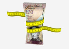 3D Venezuela Currency with Measure tape Stock Photography