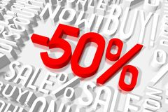 3D venta -50% ilustración del vector