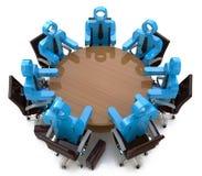 3d vergaderings bedrijfsmensen - zitting achter een rondetafel Royalty-vrije Stock Foto's