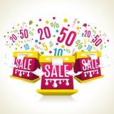 3D verkoop-dozen Kortingeneposion Het winkelen celebtation Stock Afbeelding