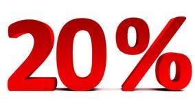 3D vermelho 20 por cento de texto no branco Fotografia de Stock Royalty Free