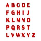 3d vermelho rotula o alfabeto, rotulando Projeto do ABC vermelho para a tipografia, ilustração do vetor Foto de Stock Royalty Free