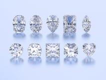 3D verschiedene weiße Edelsteindiamanten der Illustration zehn Lizenzfreies Stockfoto