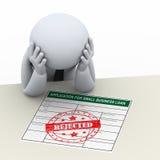 3d verstoorde bedrijfsmens na de verwerping van de leningstoepassing stock illustratie