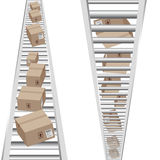 3d Vertical Conveyor Belt. An image of 3d boxes moving on a vertical conveyor belt Stock Photo