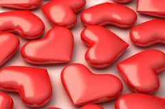 3d vervollkommnen Herzen auf Weiß Stockfotos
