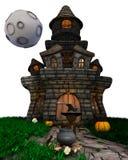 3D verwandeln Mann-Hexe mit Geisterhaus Lizenzfreies Stockfoto