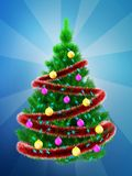 3d vibrant Christmas tree over blue. 3d illustration of vibrant Christmas tree with red tinsel over blue background Stock Image