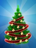 3d vibrant Christmas tree over blue Stock Image