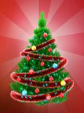 3d vibrant Christmas tree over red Royalty Free Stock Photography