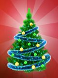 3d vibrant Christmas tree over red. 3d illustration of vibrant Christmas tree with blue tinsel over red background Stock Photo