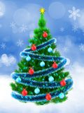 3d vibrant Christmas tree over snow. 3d illustration of vibrant Christmas tree with blue tinsel over snow background Royalty Free Stock Photo