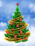 3d vibrant Christmas tree over snow. 3d illustration of vibrant Christmas tree with golden tinsel over snow background Royalty Free Stock Photo