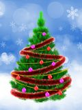 3d vibrant Christmas tree over snow Royalty Free Stock Image