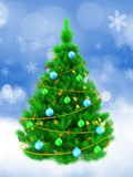 3d vibrant Christmas tree over snow. 3d illustration of vibrant Christmas tree with yellow tinsel over snow background Royalty Free Stock Photography