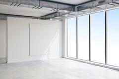 3d vident l'intérieur de l'espace avec de grandes fenêtres et le regardent illustration stock
