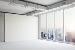 3d vident l'intérieur de l'espace avec de grandes fenêtres et le regardent illustration libre de droits