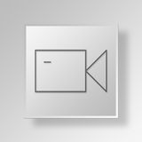 3D Video Camera icon Business Concept. 3D Symbol Gray Square Video Camera icon Business Concept Royalty Free Stock Photos