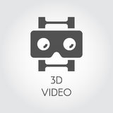 3D video design flat icon. Concept of high-definition, lcd, smart technology. Black simplicity vector pictogram Royalty Free Stock Photography