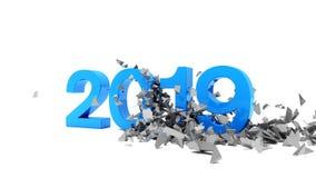 3d videoanimatie van de jaren 2018 en 2019 in blauw en zilveren over witte achtergrond stock illustratie