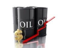 3d vier Barrel Erdöle Die goldene Taste oder Erreichen für den Himmel zum Eigenheimbesitze lizenzfreie abbildung