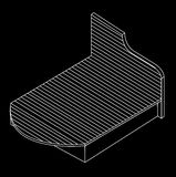 3d view of a bed furniture drawing Royalty Free Stock Photo