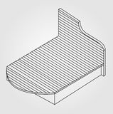 3d view of a bed furniture drawing Stock Photography