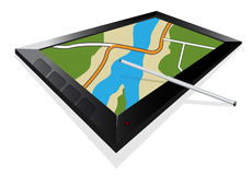 3D view of a map navigation on a tablet Royalty Free Stock Photos