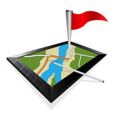 3D view of a map navigation on a tablet Stock Images