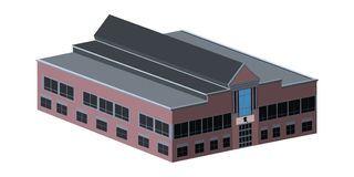 Isolated school building. 3d view of a school building, Vector illustration Royalty Free Stock Photos