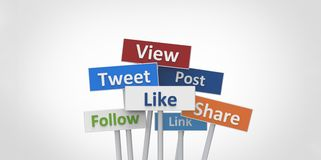 3D View Tweet Like Follow Post Link Share street signs illustration design on white gray background Stock Photos