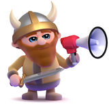 3d Viking bullhorn. 3d render of a viking using a megaphone Stock Photos