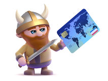 3d Viking credit card transaction Royalty Free Stock Image