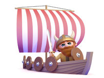 3d Viking goes sailing Royalty Free Stock Photos