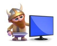 3d Viking television. 3d render of a viking next to a flatscreen television monitor Royalty Free Stock Image