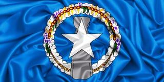 3d vinkande flagga fo nordliga Mariana Islands stock illustrationer