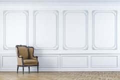 3d vintage arm chair interior render. Clean indoor setting Royalty Free Stock Images