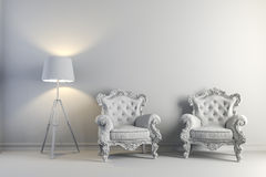 3d vintage arm chair interior render Stock Image