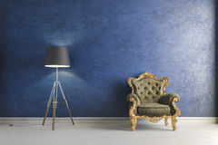 3d vintage arm chair interior render Royalty Free Stock Image