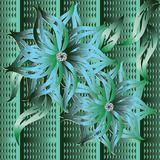 3d vintage green floral seamless pattern. Ornate textured patter. Ned striped background. Beautiful 3d flowers with diamonds, scroll leaves in Baroque style Royalty Free Stock Image