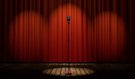 3d vintage microphone on stage with red curtain. 3d vintage microphone in spot light on stage with red curtain Stock Images